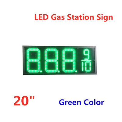 20 Led Gas Station Electronic Fuel Price Sign Green Color Wireless Waterproof