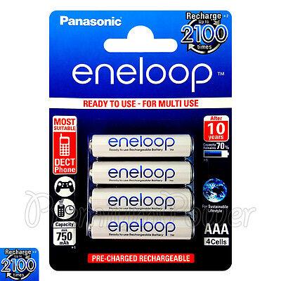 4 x Panasonic Eneloop AAA batteries 750mAh Rechargeable Ni-MH HR03 Phone 4 Pack