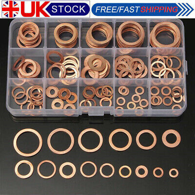 UK 150x Copper Washer Set Drain Sump Plug Seal Flat Ring Fuel Hydraulic Fittings