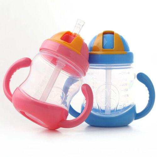 Training Cup School Drinking Bottle Water Straw Handle Bottle Baby Kids Cup