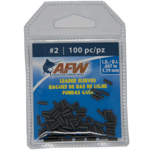 AFW American Fishing Wire Single Barrel Copper Crimp Sleeves Leader Size 2 100pc