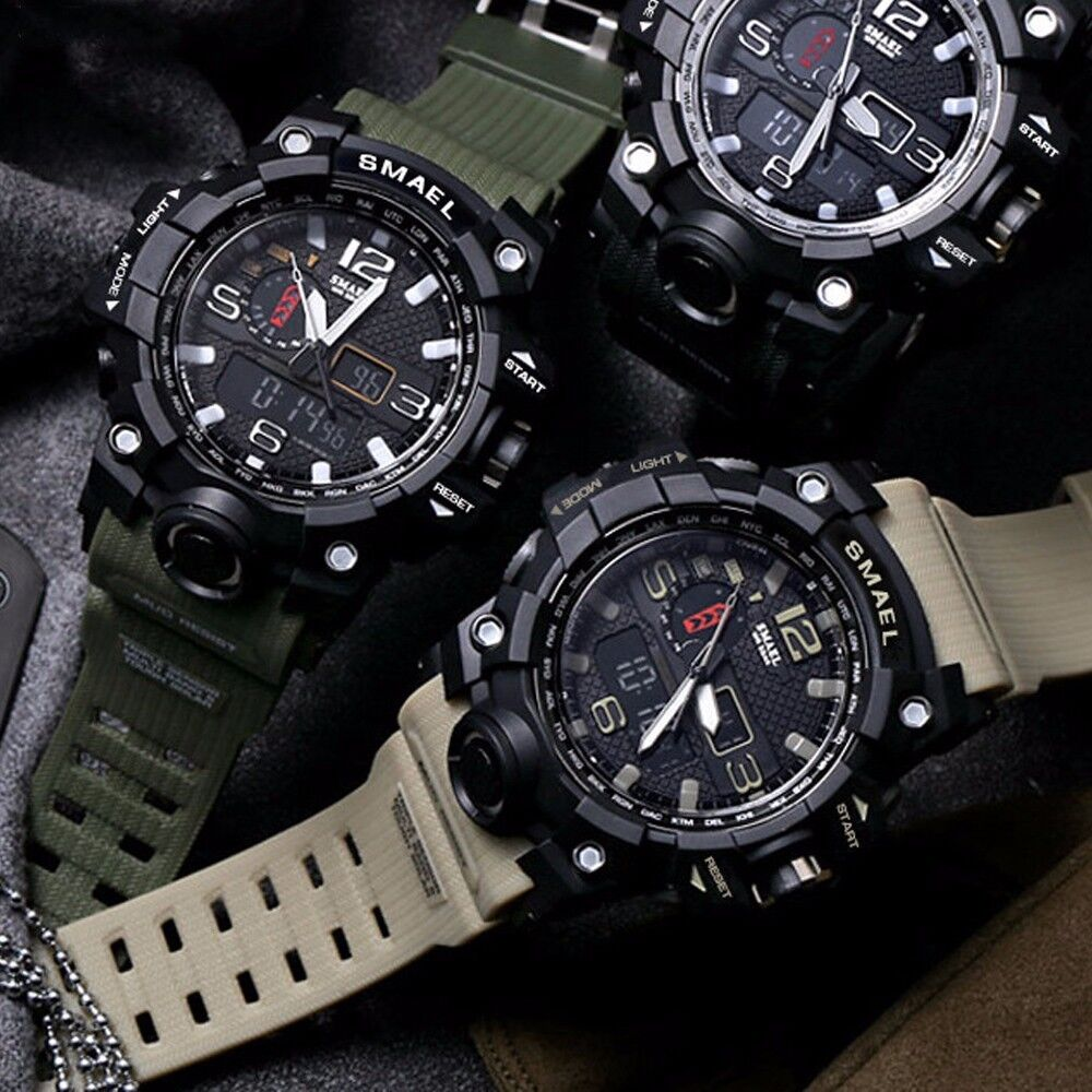 Mens Watches - SMAEL Men Military Digital Shock Quartz Watch Dual Time Waterproof Army Sport US