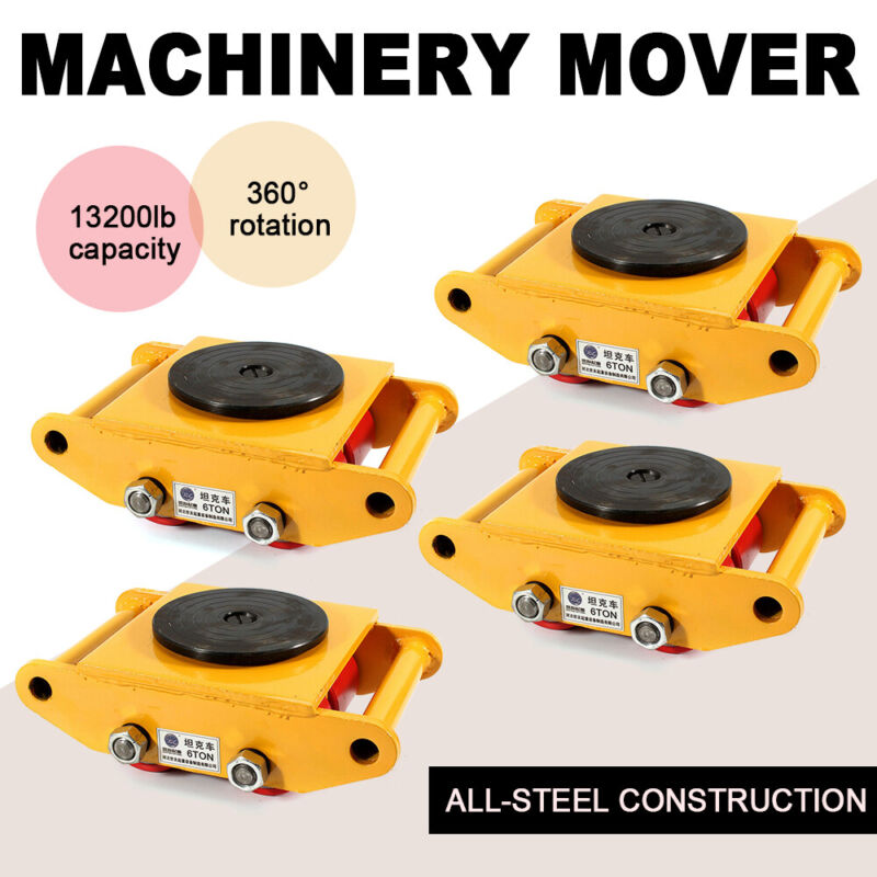 4 Set 6 Ton Industrial Machinery Mover Dolly Skate Straight Machine Rotation Cap