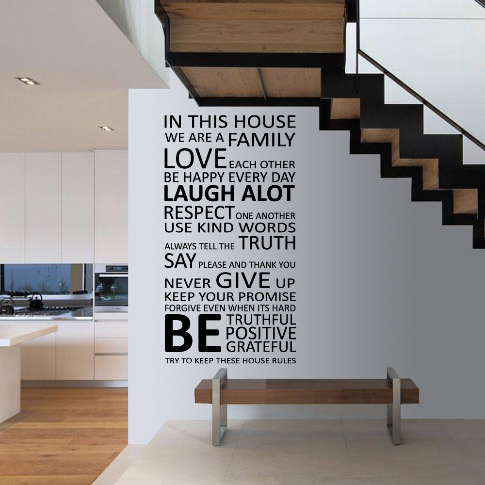 Home Decoration - House Family Home Rules Quote Wall Stickers Art Dining Room Removable Decals DIY