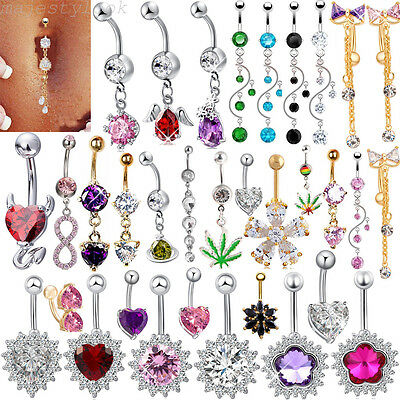 New Rhinestone Navel Rings Belly Button Bar Ring Dangle Body Piercing Jewelry (Dangle Navel Ring Rings)