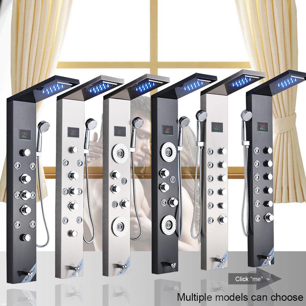 Stainless Steel Shower Panel Tower LED Rain Waterfall W/Mass