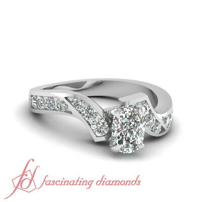 1.35 Ct Cushion Cut H-Color Diamond Zig Zag Engagement Ring Channel Set 14K GIA