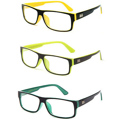 Trendy and Fun Non Prescription Clear Lens Glasses with Sleek Rectangular (Glasses With Plastic Frames And Clear Lenses)