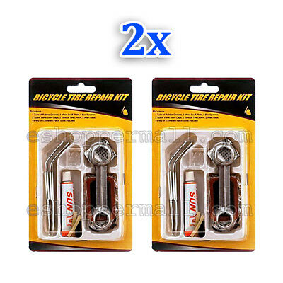 2x Bike Tire Repair Kit Tube Repair Kit Patch Glue Rubber Cement Spare Valve Fix