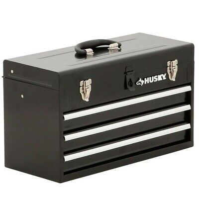"Husky Metal Portable Tool Box Drawer Tray Storage Organizer Hand Carry Black 20"""