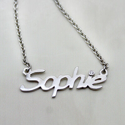 - Personalized Name Necklace Diamond Pendant 14kt White Gold With Chain