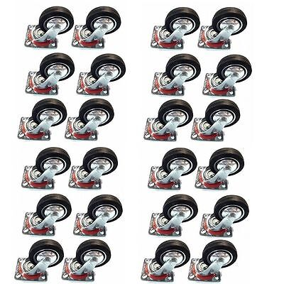 50 Pack 3 Swivel Caster Wheels Rubber Base With Top Plate Bearing Heavy Duty