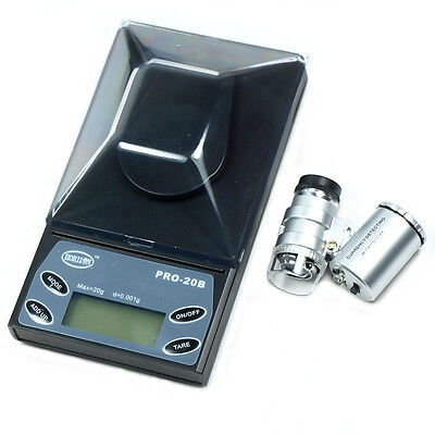 20g x 0.001g / 0.005ct Digital Precision Jewelry Scale with 60X Jeweler's Loupe