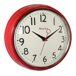 Westclox 9.5 in. Face Red Retro Wall Clock Glass lens Quartz movement 12 in. dia