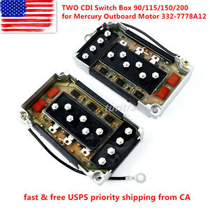 New Two CDI Switch Box 90/115/150/200 for Mercury Outboard Motor 332-7778A12 US