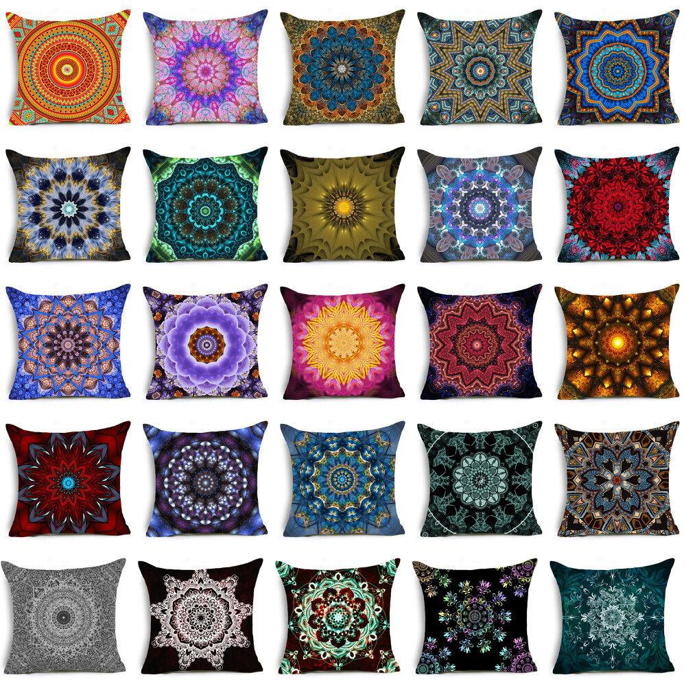 polyester bohemian mandala throw pillows case sofa