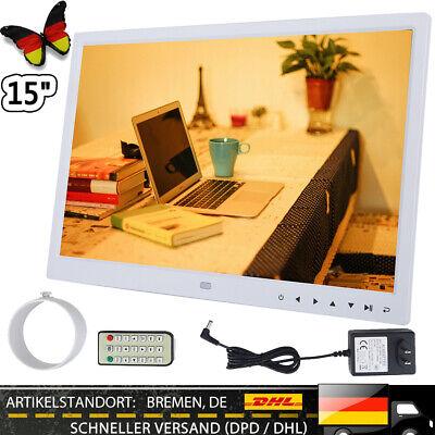 15Zoll TFT Bildschirm Digitaler Bilderrahmen Videoplayer + Fernbedienung Weiß HS