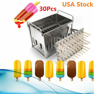DIY 30Pcs Popsicle Ice Cream Mold Stainless Steel Lolly Stick Maker Frozen Molds