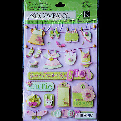 - K & COMPANY Baby GIRL BW Small Wonders Clothesline GRAND ADHESIONS STICKERS Pink