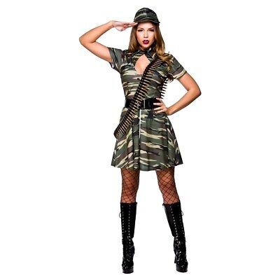 Adult COMBAT CUTIE Army Fancy Dress Ladies Combat Military Costume UK Sizes 6-24