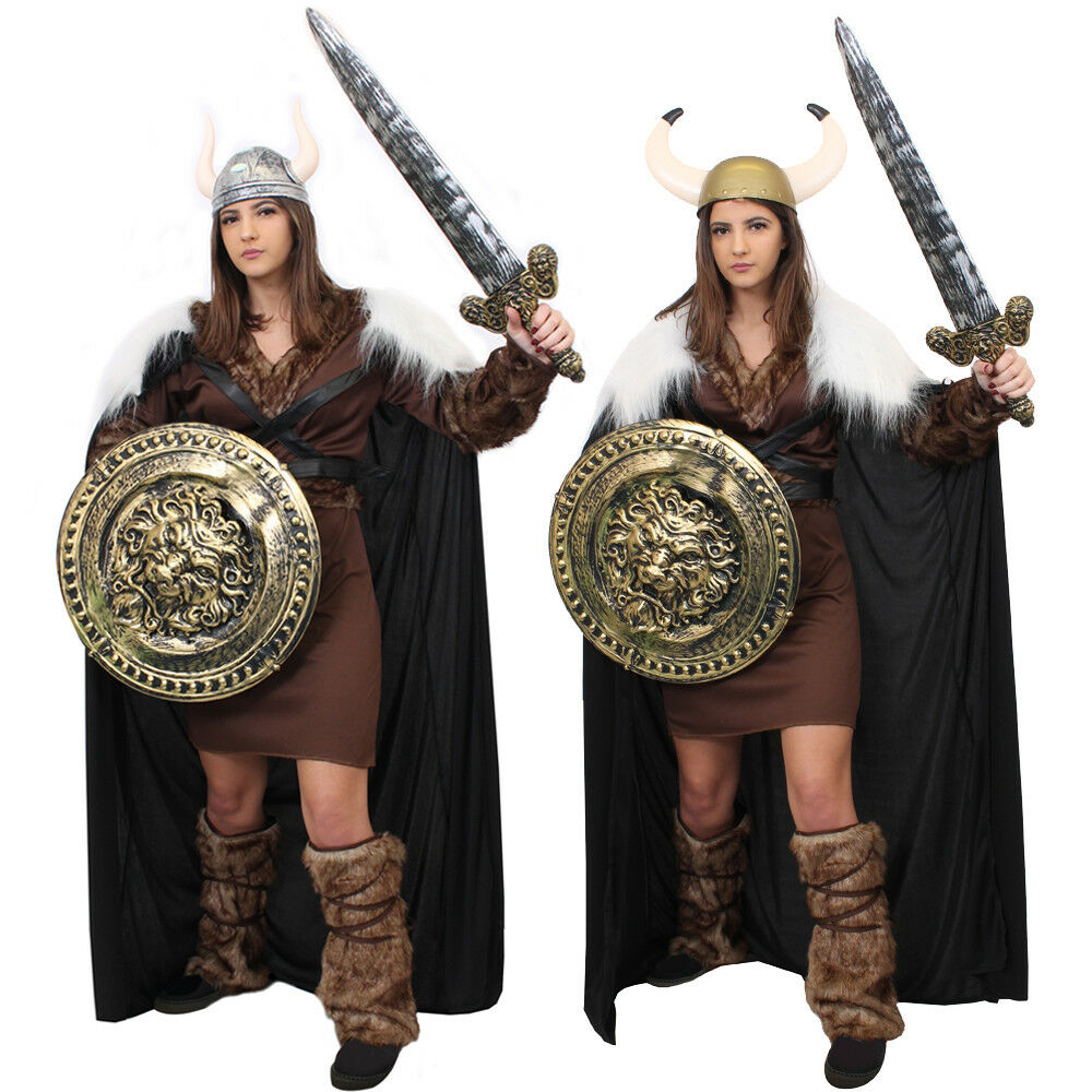 LADIES VIKING COSTUME WITH CAPE HISTORICAL MEDIEVAL WARRIOR  FANCY DRESS OUTFIT