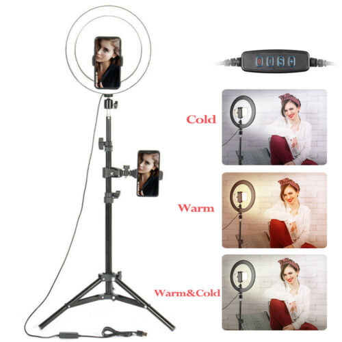 "10"" Selfie Desktop LED Ring Light with stand phone holder fo"
