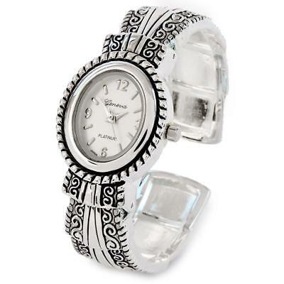 Silver Metal Western Style Decorated Oval Face Women's Bangle Cuff -