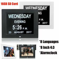 8 Desk Digital Alarm Clock Calendar Dementia LED Display Time Date Month Year