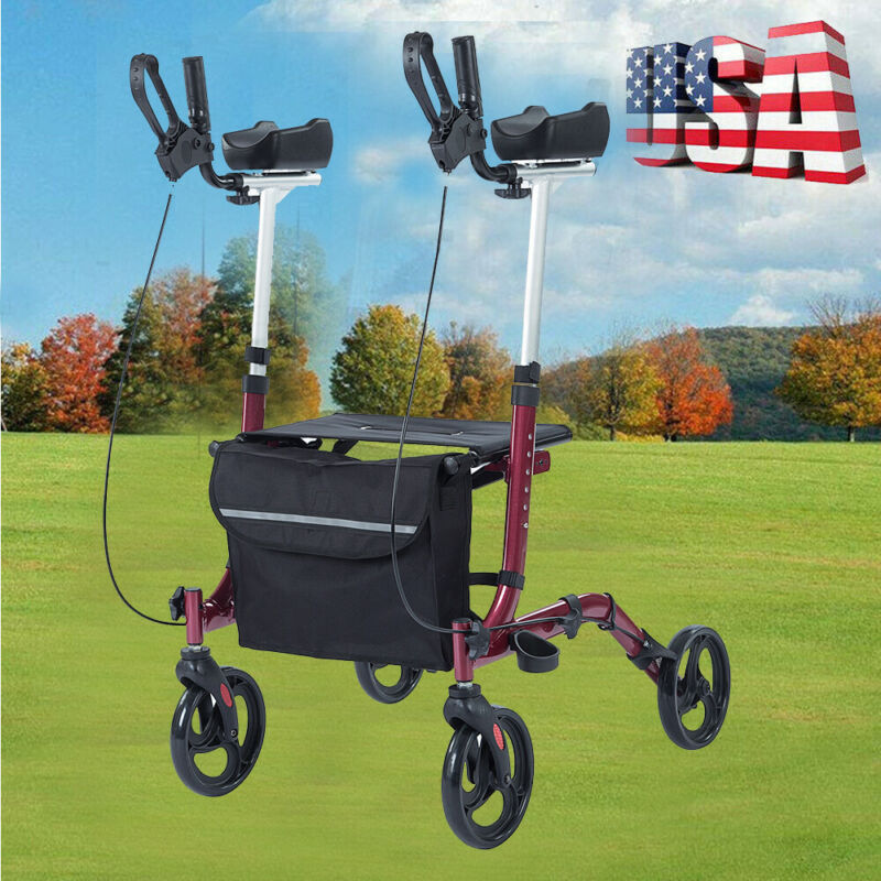 OEM ELENKER Folding Chair Rollator Walker Drive Leg Medical Seat & Back 4 Wheel