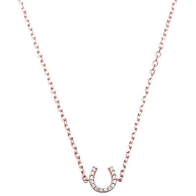 Gold Plated Sterling Silver Horseshoes (Rose Gold Plated Horse Shoe .925 Sterling Silver Pendant Necklace )