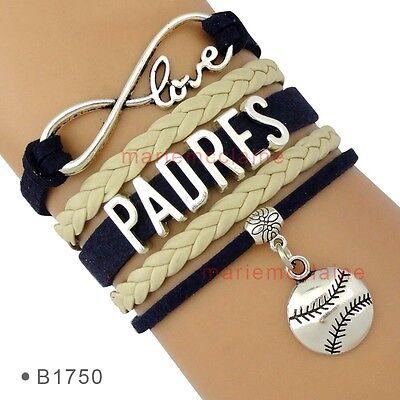 San Diego Padres Infinity Baseball Bracelet MLB Charm Sports Team QUALITY - Mlb Sports Charm Bracelet