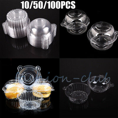 10-100x Large Individual Plastic Cupcake Holder Single Muffin Case Box Dome Cups - Single Cupcake Boxes