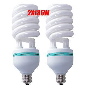 2x135W 5500K Daylight Spiral Light Bulbs Energy Saving Fluorescent Lamp E27 CFL