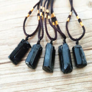 Natural Schorl pillar Black Tourmaline Raw gemstone Jewelry Necklaces Pendants