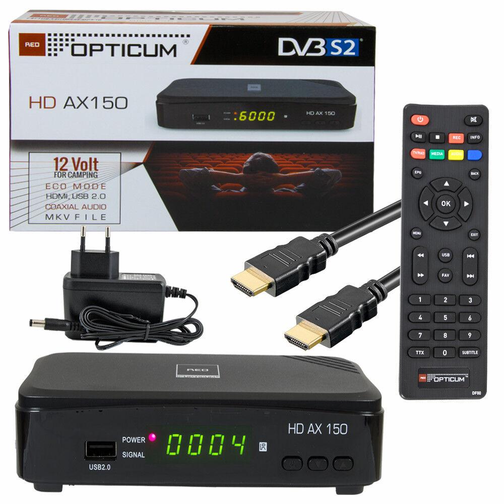 Sat HD Receiver OPTICUM AX150 Schwarz HDMI SCART USB PVR Aufnahme HDTV DVB-S2 TV