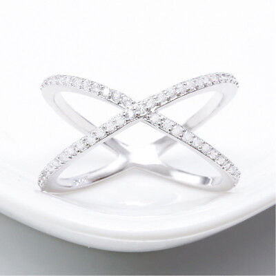 Ring Pave Setting X-shaped Cross Ring Size 6-19 - Pave Setting Ring