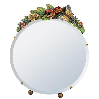 1 STUNNING  BARBOLA TABLE MIRROR COLOURFUL BUTTERFLY FLORAL FRAME SHABBY CHIC