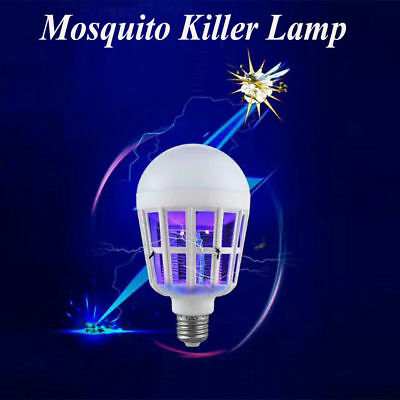 (LED Bulb Anti-Mosquito Solar Powered LED Zapper Insect Flying Moth Killer lamp E)