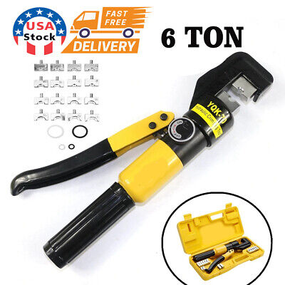 Hydraulic Crimper Crimping Toolw 8 Dies Wire Battery Cable Lug Terminal 6 Ton