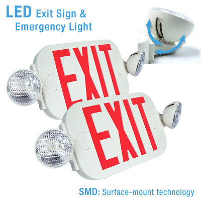 2x Led Exit Sign Emergency Light High Output - Red Compact Combo Ul924 New