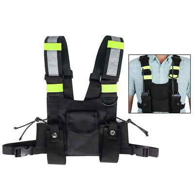 Radio Chest Harness Pack Bag 2-way 3 Pocket Hands Free Pouch Walkie Holster Vest