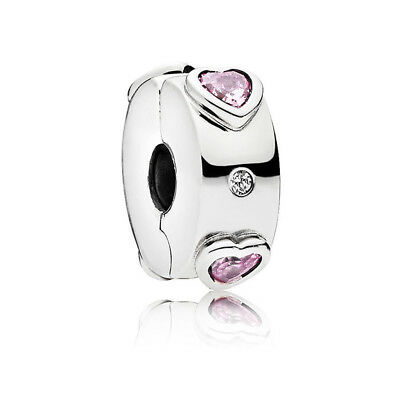 Authentic S925 Sterling Silver Explosion of Love Clip Charm Pink CZ Bead W/Pouch ()