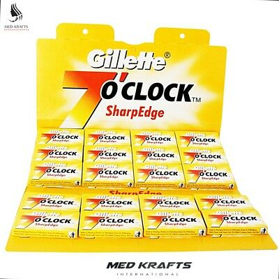 100 x Gillette 7 O'CLOCK- Double Edge Safety Razor Blades- Made in Russia , used for sale  North York