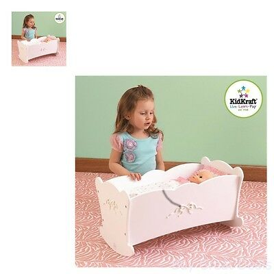 Baby Doll Rocking Cradle Crib Furniture Play Girl Toy w/ Mattress Pillow - Doll Cradle Doll Furniture
