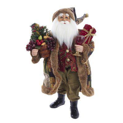 Kurt Adler Standing Santa Claus Christmas Tree Gift Basket Wine Glass Tablepiece ()
