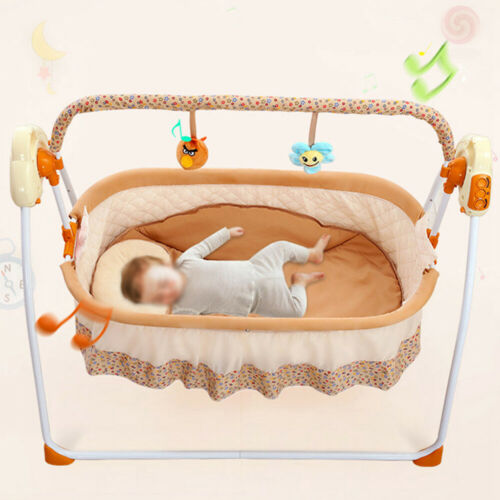 Details About Baby Electric RC Cradle Sleeping Bed Swing Crib Rocker Music  + Mosquito Net