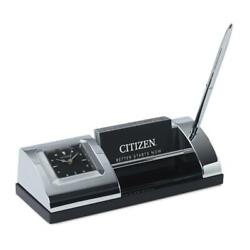 Desk Set With Pen, Clock and Business Card Holder