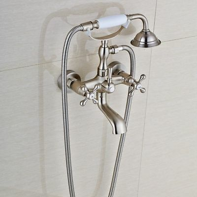 Vintage Clawfoot Bath Tub Faucets Hand Shower Wall Mount Dual Handles Mixer Tap for sale  USA