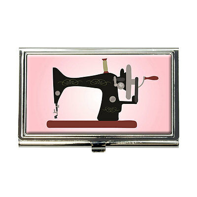 Sewing Machine Vintage Pink Background Business Credit Card Holder Case