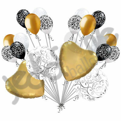 50th Wedding Anniversary Balloons (20 pc Gold Heart & Swirl Balloon Bouquet Wedding Bridal Shower Anniversary)